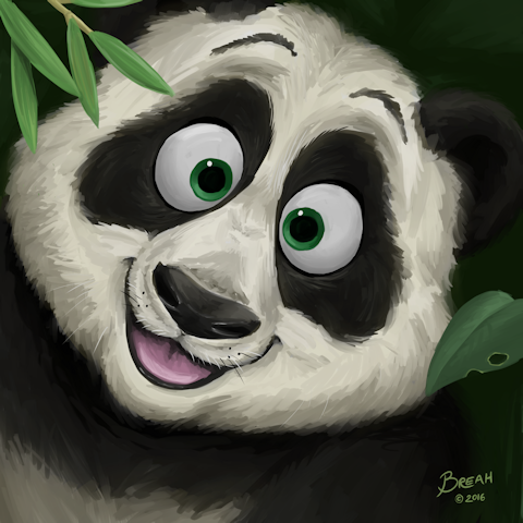 Cartoon Giant Panda in Bamboo